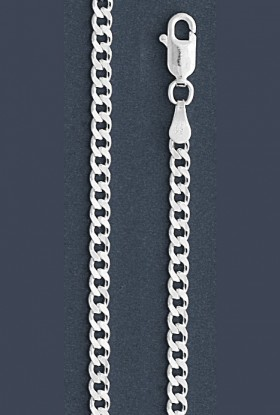 "Curb Chain Necklace- 3.0 mm in Wide- 16"" or 18""/20""/24""/26""/28""/30"" in Length"