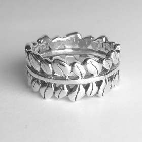 Small Olive Leaf Rounded Sterling Silver Band Ring